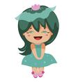 kawaii cheerful magic-green baby-grls vector image