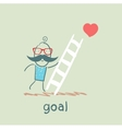 man climbs the stairs to the goal vector image vector image