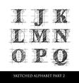 sketched diagram alphabet set 2 vector image
