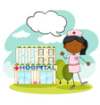 Nurse standing in front of hospital vector image
