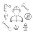 Firefighter profession hand drawn sketch icons vector image