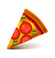 pepperoni pizza slice isolated on white vector image
