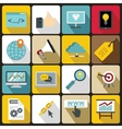 SEO icons set flat style vector image