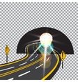 The road to the future passes through the tunnel vector image