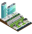 Isometric Skyscrapers And Suburban Houses vector image