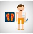 man shorts towel beach vacations sandals beach vector image