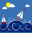 boats in the sea vector image