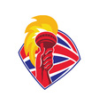 hand hold flaming torch british flag retro vector image vector image