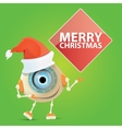 Cartoon Cute Robot with santa claus red hat vector image