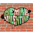 heart on brick wall vector image