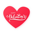 paper cut red heart with text happy valentines vector image