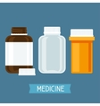 Set of three medical bottles with pills vector image
