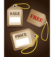 Leather shopping tags with rope vector image