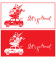 seasonal card with small and cute retro travel car vector image vector image