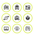 Set round icons of electrical generator vector image