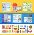 open refrigerator organic food kitchenware vector image