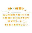 honey font design glossy sweet abc letters and vector image