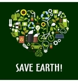 Heart with ecology saving energy recycling icons vector image
