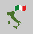italy map and flag geography italian state vector image