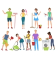 Man and woman janitors cleaners Cleaning people vector image