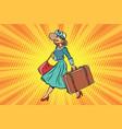 retro traveler girl with a suitcase vector image