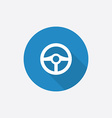 steering wheel Flat Blue Simple Icon with long vector image