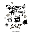 Season s greetings Christmas calligraphy vector image