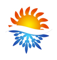 Sun and snowflake symbol air conditioning vector image