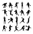 25 Basketball Black Silhouette vector image vector image