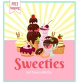 Sweeties retro poster design vector image vector image