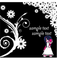 floral background with emo kid vector image vector image