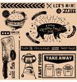 Menu pattern with fast food symbols vector image vector image