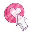 arrow with love heart button icon vector image
