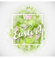 Beautiful card Easter egg with green leaves vector image