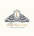 Calligraphic luxury line flourishes elegant emblem vector image