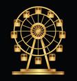 gold ferris wheel logo template on a black vector image
