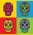 mexican skulls pop art background vector image