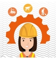 woman construction tool gears vector image