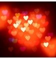 Blurred defocused lights background with hearts vector image