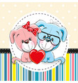 two cute cartoon dogs vector image