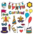 Carnival show set of doodle icons and objects vector image vector image
