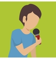 man singing isolated icon design vector image