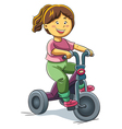 Girl Riding Tricyle vector image
