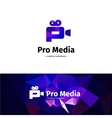 Low poly camera logo Media business P vector image