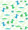 seamless crocodile kid cartoon pattern vector image