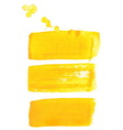 Yellow ink brush strokes vector image