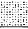 100 tourist attractions icons set simple style vector image