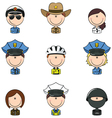 Police avatars vector image vector image