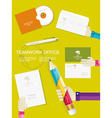 Set of office and business work elements in flat vector image vector image