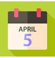 Easter calendar with date 5 april vector image